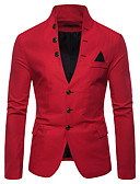 cheap Men's Blazers & Suits-Men's Blazer, Solid Colored Stand Cotton / Polyester Red / Navy Blue / Khaki L / XL / XXL