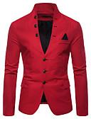 hesapli Erkek Blazerları ve Takım Elbiseleri-Erkek Blazer, Solid Dik Yaka Pamuklu / Polyester YAKUT / Koyu Mavi / Haki L / XL / XXL