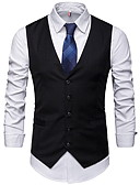 cheap Men's Blazers & Suits-Men's Daily Regular Vest, Solid Colored V Neck Sleeveless Polyester Black / Gray XL / XXL / XXXL