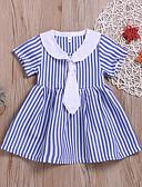 Χαμηλού Κόστους Βρεφικά φορέματα-Μωρό Κοριτσίστικα Βασικό / Κομψό στυλ street Ριγέ Με Κορδόνια Κοντομάνικο Βαμβάκι Φόρεμα Θαλασσί