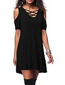 זול חולצה-אחיד צווארון V מידות גדולות חולצה - בגדי ריקוד נשים לגזור / חלול שחור / אביב / קיץ / סתיו