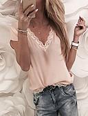 お買い得  レディース・ウール & ウール混コート-女性用 Tシャツ Vネック ソリッド ホワイト XXXL