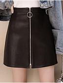preiswerte Damen Röcke-Damen Kunstleder über dem Knie eine Linie Röcke - einfarbig