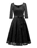 billige Vintagedronning-Dame Vintage Elegant A-linje Kjole - Ensfarget, Blonde V-hals Knelang