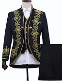 お買い得  メンズブレザー&スーツ-男性用 スーツ, フラワー スタンド アクリル / ポリエステル ブラック / ルビーレッド / ネイビーブルー M / L / XL