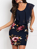 levne Print Dresses-Dámské Elegantní Štíhlý Pouzdro Šaty - Květinový, Květinový Šifón Tisk Mini