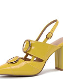 cheap Women-Women's PU(Polyurethane) Spring & Summer Heels Chunky Heel Pointed Toe Buckle Yellow / Red / Almond