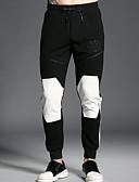 お買い得  メンズパンツ&ショーツ-男性用 ベーシック スウェットパンツ パンツ - 幾何学模様 / カラーブロック ブラック