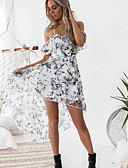 cheap Cocktail Dresses-Women's Swing Dress White Red M L XL