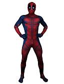 povoljno Zentai odijela-Zentai odijela Puno radno odijelo uz tijelo Cosplay Odrasli Lycra® Cosplay Nošnje Halloween Muškarci Red Printing Halloween Karneval Maškare