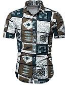 levne Pánské košile-Pánské - Geometrický Košile Štíhlý Vodní modrá XXXL