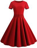 cheap Vintage Dresses-Women's Vintage Swing Dress - Solid Colored Floral Print Blue Black Red L XL XXL