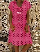 hesapli Mini Elbiseler-Kadın's Temel Kılıf Elbise - Yuvarlak Noktalı Çiçekli Diz-boyu