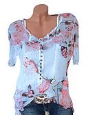 Χαμηλού Κόστους T-shirt-Γυναικεία Μεγάλα Μεγέθη Μπλούζα Φλοράλ / Συνδυασμός Χρωμάτων Λαιμόκοψη V Στάμπα Λευκό XXXL