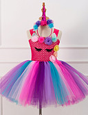 Χαμηλού Κόστους Φορέματα για κορίτσια-Unicorn Πόνυ Στολές Κλασσική / Παραδοσιακή Lolita Κοριτσίστικα Παιδικά Φορέματα Μεσοφόρι Τούτου Κάτω από τη φούστα Φούξια Πεπαλαιωμένο Cosplay Σατέν Πάρτι Επίδοση Φεστιβάλ Πριγκίπισσα
