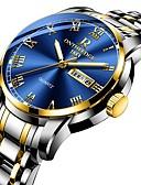abordables Relojes de Lujo-Hombre Reloj de Vestir Japonés Cuarzo Acero Inoxidable Negro / Plata / Dorado 30 m Resistente al Agua Calendario Cronógrafo Analógico Lujo Moda - Plata Azul Oscuro Azul Dos año Vida de la Batería