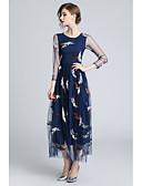 preiswerte Abendkleider-A-Linie Schmuck Tee-Länge Tüll Kleid mit Stickerei durch LAN TING Express