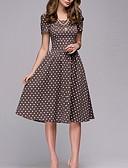 お買い得  ヴィンテージドレス-女性用 お出かけ ヴィンテージ 1950年代風 スリム Aライン ドレス - プリント, 水玉 / 波点 膝丈