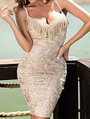 Χαμηλού Κόστους Φορέματα NYE-Γυναικεία Βασικό Σέξι Γυναίκα Εφαρμοστό Φόρεμα - Μονόχρωμο, Δαντέλα Φούντα Πάνω από το Γόνατο Λαιμόκοψη V / Κλαμπ