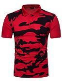 זול חולצות פולו לגברים-גיאומטרי צווארון חולצה כותנה, Polo - בגדי ריקוד גברים שחור