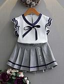 Χαμηλού Κόστους Σετ ρούχων για κορίτσια-Παιδιά Κοριτσίστικα Ενεργό / Κομψό στυλ street Ριγέ / Patchwork Φιόγκος / Patchwork / Στάμπα Αμάνικο Κανονικό Ρεϊγιόν Σετ Ρούχων Λευκό