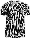 お買い得  メンズパンツ&ショーツ-男性用 プリント Tシャツ ラウンドネック 幾何学模様 / カラーブロック / 3D コットン ブラック XL