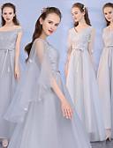 baratos Vestidos para Madrinhas-Decote V Renda / Tule Vestido de Madrinha com Renda de LAN TING Express