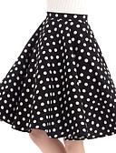 hesapli Kadın Pantolonl-Kadın's Vintage Pamuklu Salıncak Etekler - Yuvarlak Noktalı Siyah S M L