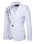 cheap Men's Blazers & Suits-Men's Party / Birthday Spring &  Fall Regular Blazer, Solid Colored Shirt Collar Long Sleeve Polyester Black / Wine / Light gray L / XL / XXL