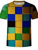 levne Pánská tílka-Pánské - Geometrický / Barevné bloky / 3D Tričko, Tisk Bavlna Kulatý Duhová XL