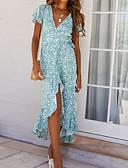 levne Maxi šaty-Dámské Základní Elegantní Pouzdro Šaty - Geometrický, Tisk Asymetrické