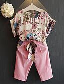 Недорогие Костюмы для девочек-Дети (1-4 лет) Девочки Классический С принтом С короткими рукавами Обычный Обычная Хлопок Набор одежды Розовый