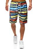 お買い得  メンズパンツ&ショーツ-男性用 ベーシック ショーツ パンツ - ストライプ レインボー