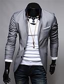 cheap Men's Blazers & Suits-Men's Blazer, Solid Colored / Color Block Stand Cotton / Polyester Black / Red / Gray XXL / XXXL / XXXXL