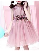 Χαμηλού Κόστους Βρεφικά φορέματα-Παιδιά Κοριτσίστικα Γλυκός / χαριτωμένο στυλ Φλοράλ Δίχτυ / Κεντητό Αμάνικο Ρεϊγιόν / Πολυεστέρας Φόρεμα Πράσινο του τριφυλλιού