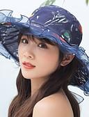 preiswerte Damenhüte-Damen Kentucky Derby Aktiv nette Art,Polyester Chiffon Sonnenhut Blumenmuster Sommer Herbst Rosa Beige Marineblau