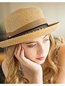 hesapli Kadın Şapkaları-Kadın's Temel Hasır Güneş şapkası Solid Beyaz Deve Açık Yeşil