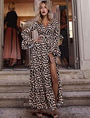 billige Kvinner Fur & Faux Fur Coats-Dame Tynn Swing Kjole - Leopard V-hals Maksi