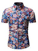abordables Camisas de Hombre-Hombre Estampado - Algodón Camisa Floral / Galaxia / Bloques Azul Piscina XL
