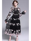 preiswerte Maxikleider-A-Linie Schmuck Tee-Länge Tüll Kleid mit Stickerei durch LAN TING Express