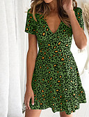 billige Kjoler med trykk-Dame Grunnleggende Skjede Kjole - Leopard Mini