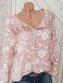 cheap The Must Have Styles-Women's Street chic Plus Size Blouse - Floral Lace Shirt Collar Red XXXL / Spring / Fall / Going out