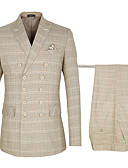 hesapli Takım Elbiseler-Haki Damalı Standart Kalıp Pamuklu / polyester Takım elbise - Zirve Çift Yakalı Altı Düğme / Suit