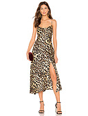 cheap Print Dresses-Women's Basic Sheath Dress - Leopard Split Patchwork Khaki M L XL