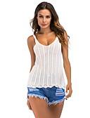 billige T-skjorter til damer-Tynn Med stropper Singleter Dame - Stripet Hvit