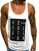 hesapli Erkek Tişörtleri ve Atletleri-Erkek Yuvarlak Yaka İnce - Kısa Paltolar Harf AB / ABD Beden Beyaz