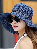 hesapli Kadın Şapkaları-Kadın's sevimli Stil Hasır Hasır Şapka Güneş şapkası Solid Yaz Koyu Mavi Fuşya Haki
