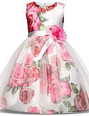 זול שמלות לילדות פרחים-נסיכה Midi שמלה לנערת הפרחים  - טול / תערובת פולי וכותנה ללא שרוולים עם תכשיטים עם פפיון(ים) / דוגמא \ הדפס / שכבות על ידי LAN TING Express