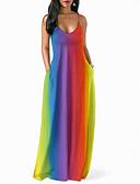 رخيصةأون فساتين للنساء-فستان نسائي ثوب ضيق أساسي طويل للأرض قوس قزح
