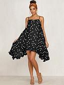 hesapli Kadın Etekleri-Kadın's Sokak Şıklığı Şifon Elbise - Yuvarlak Noktalı, Desen Diz üstü